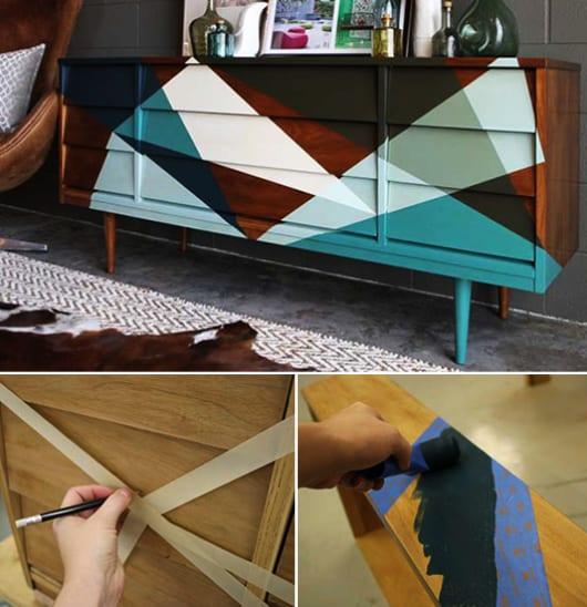 coole streichen technik mit klebeband zum streichen alter möbel