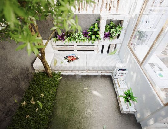 idee für gartengestaltung und Sitzecke aus Paletten weiß mit DIY Blumenkasten aus Paletten