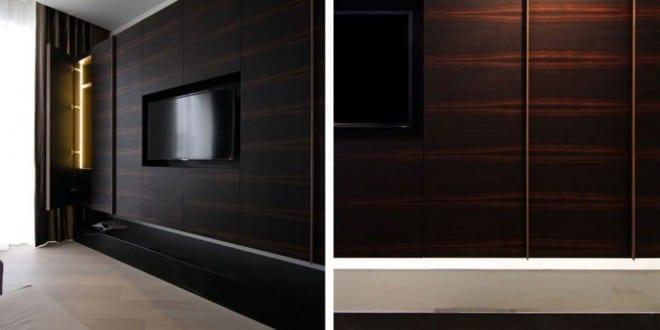 tv wandpaneel aus dunklem holz freshouse. Black Bedroom Furniture Sets. Home Design Ideas