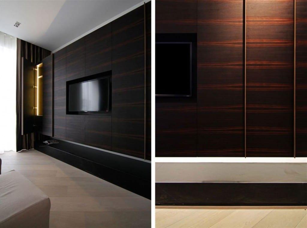 holz interieuer design mit wandpaneelen für modernes schlafzimmer