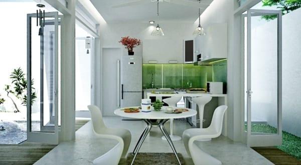Ultra moderne kleine küche weiß mit spritzwasserschutzglas grün
