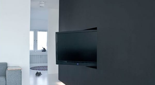 wand tv idee f r modernes interieur mit wandfarbe schwarz und indirekter beleuchtung freshouse. Black Bedroom Furniture Sets. Home Design Ideas
