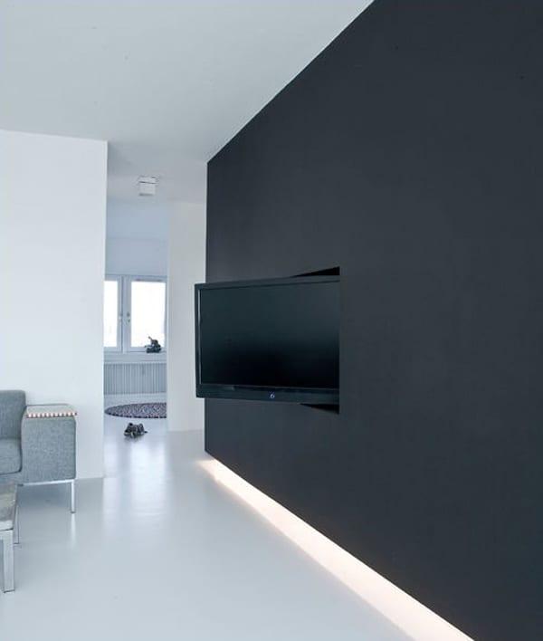 luxus wohnzimmer inspiration mit wandfarbe schwarz und minimalistisches interior in weiß mit polstersofa grau