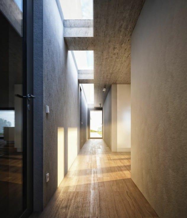 minimalistisches interieur design mit sichtbeton und holzbodenbelag als  moderne wohnidee flur
