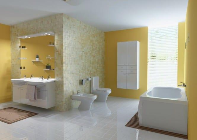 moderne badezimmer gestaltung mit wandfarbe gelb und und badezimmerspiegel mit beleuchtung