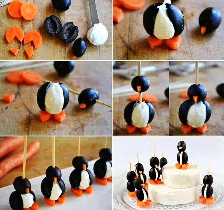 kreative pinquin-Häppchen für kinder partys und essen-deko-idee mit schwarzen oliven und kese