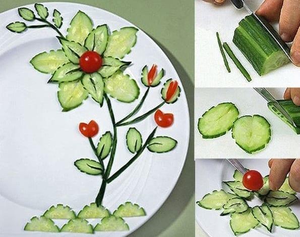 kreative Party-Essen-dekoration mit Blume aus Gurken und Partytomaten