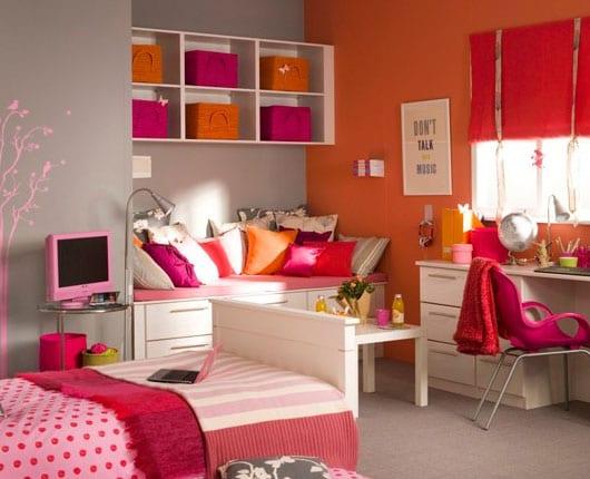 kinderzimmer farbgestaltung mit wandfarbe grau und orange