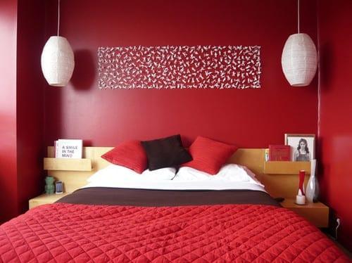 coole deko ideen und farbgestaltung schlafzimmer rot mit diy ... - Wanddeko Schlafzimmer