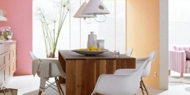 coole farbgestaltung k che f r optische raumvergr erung mit wandfarben aprikose und rosa. Black Bedroom Furniture Sets. Home Design Ideas