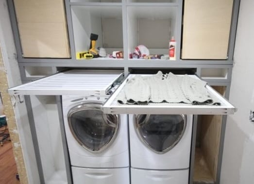 platzsparende einrichtungsidee für die waschküche