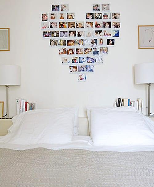 modernes schlafzimmer weiß mit einfache DIY Wanddeko mit fotos