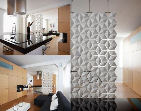 moderner Raumteiler in weiß aus bewegliche elemnten für schicke Raumgestaltung und raumteilung im Wohnzimmer und Küche mit kochinsel und bar in weiß-schwarz