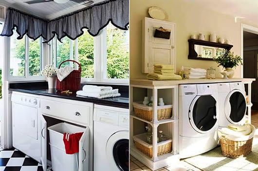 interessante waschküche-einrichtungsidee mit weidenkörben und in schwarz-weiß mit bodenfliesen und fensterdekoration mit schwarzen gardinen