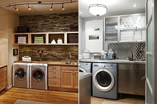 platzsparende einrichtungsidee waschküche für bade- und handtücher
