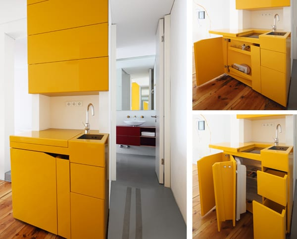 moderne platzsparende küche in gelb für kleine wohnungen_idee für küche in nische