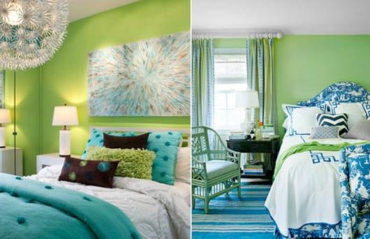 moderne schlafzimmer streichen idee mit wandfarbe grün und blauen Wohnaccessoires_blaue bettdecken und bettwäsche und teppich