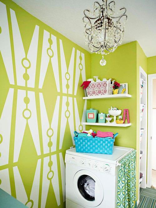 interessante waschküche einrichtungsidee mit coole wandgestaltung im badezimmer