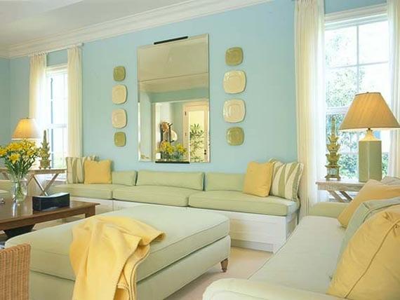 strahlende farbgestaltung wohnzimmer in blau und gelb