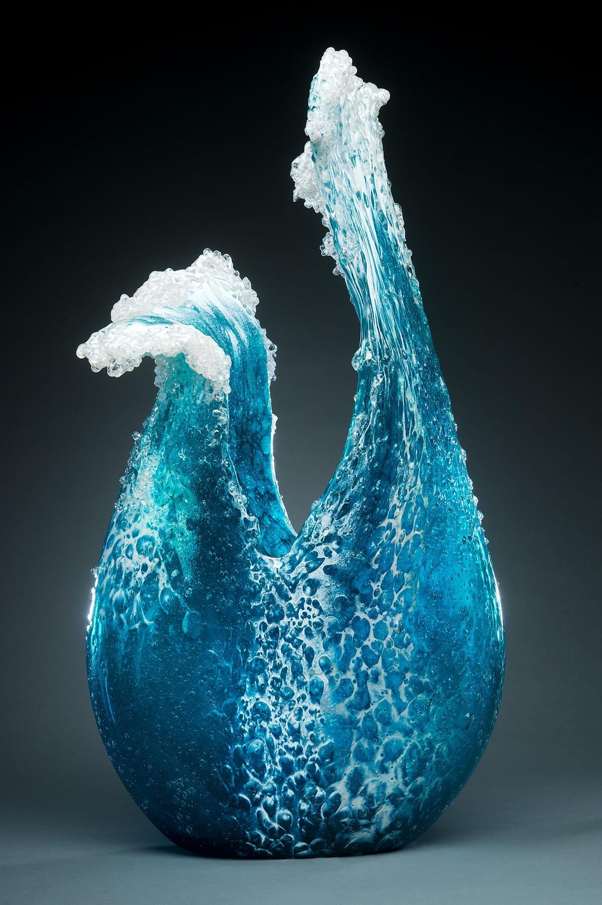 ozeanwellen-vase für kreative tischdekoration in blau