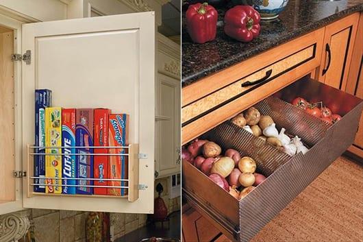 platzsparende ideen für die küche mit aufbewahrungsplatz an der Schranktür und als schublade für obst und gemüse