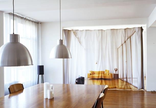 gardinen dekorationsvorschlag als raumteiler aus textil mit Bild