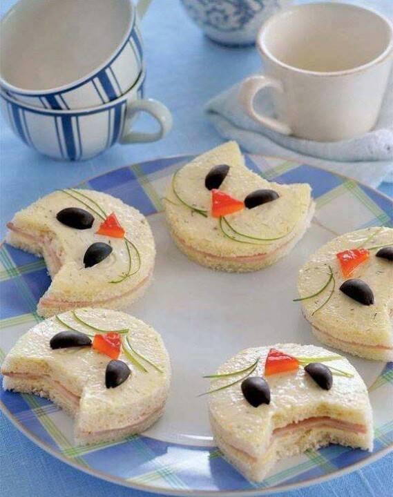 kreative sandwische mit schinken in form von katze