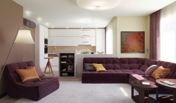moderne wohnzimmer inspiration mit braunen wänden und weiße küche mit bar