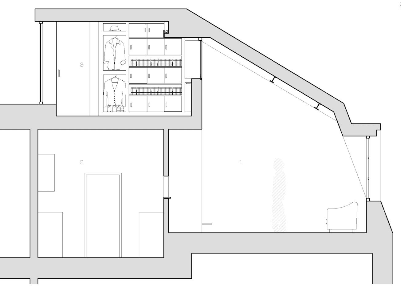 schnitt durch das mezzanin als idee für das schaffen von zusätzlichem Platz in kleinen Wohnungen