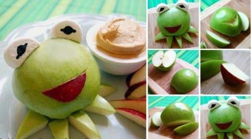 kinder-Party-Essen und DIY Essen-deko mit Apfel-frosch