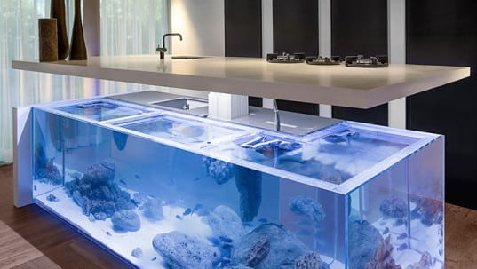 Moderne Aquarium Kochinsel Fr Luxurise Kche FresHouse