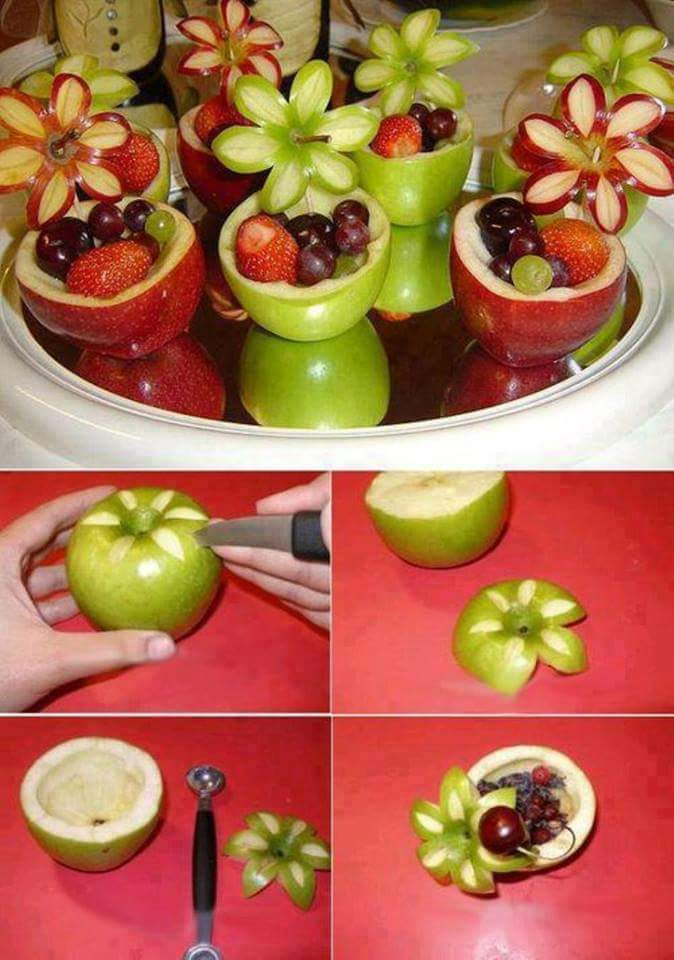 apfel-kärbchen mit Blumen-Dekoration aus Apfeln für Kinder-partys und als kreative Party-Essen-Idee