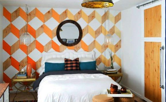 schlafzimmer farbgestaltung in blau und orange mit schiebetür holz in weiß und coole wand streichen idee
