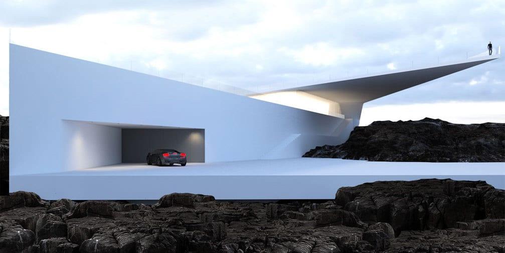 bilder moderne und minimalistische häuser in weiß_moderne residenz mit Garage und weiße Außentreppe zum Pool