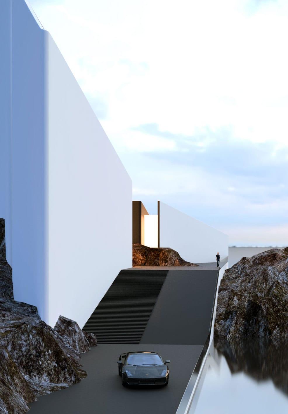 Modernes haus am meer mit brücke und moderner außentreppe mit rampe in schwarz