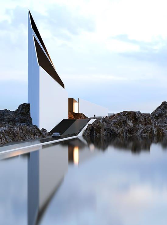 Modernes Haus Mit Dreick Volumen An Der Küste Mit Schwarzer Außentreppe Und  Rampe