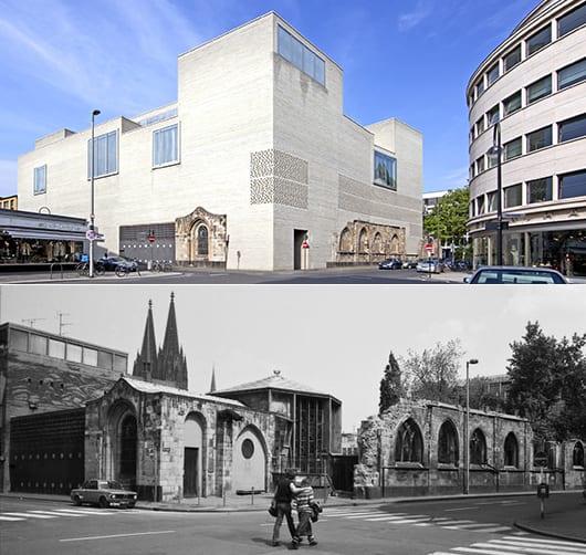 modernes museumsbau aus ziegeln mit alter kapelle in köln