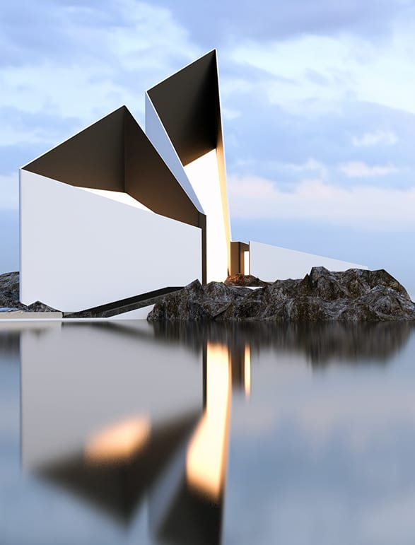 minimalistische gebäude bilder_modernes haus in weiß-schwarz mit glasdach und glasfassade