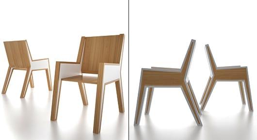 elegante Holzstühle mit markantem design aus holz und weißen armlehnen von Michael Samoriz