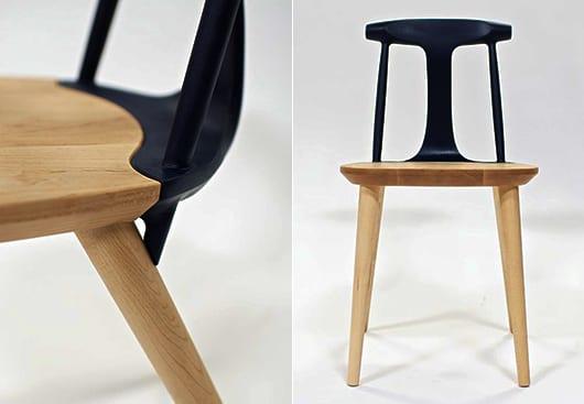 kreatives holz essstuhl design mit alu rckenlehne schwarz fr esszimmer einrichtung in schwarz - Designer Stuhl Esszimmer