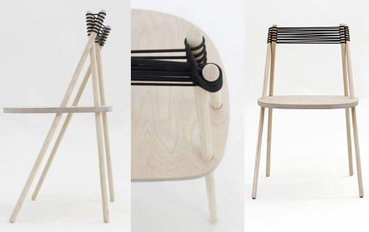 Esszimmerstuhl aus Holz mit Rückenlehne aus Seil