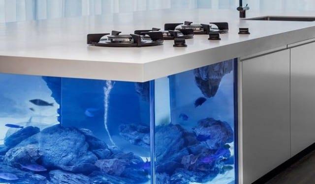 interessante einrichtungsidee und modernes Interior Design für weiße küchen mit Aquarium-Kochinsel  und L-Förmigem Küchenschrank weiß