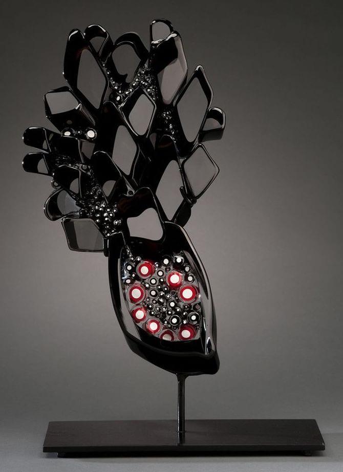 schwarze glas-Skulpturen für kreative und moderne dekoration