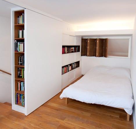 eingebaute regale und schränke als kreative idee für kleine schlafzimmer und modernes Mezzanin-Interior