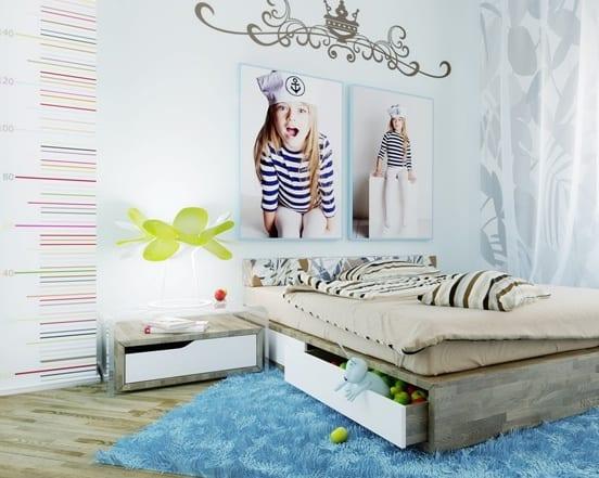coole wandgestaltung schlafzimmer mit parkett und teppich blau