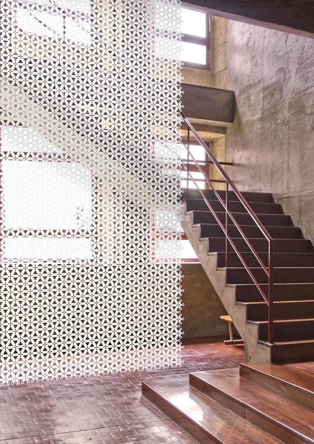 weißer Vothang-Raumteiler für moderne und lichtdurchlässige raumteilung