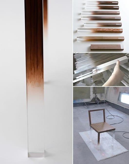 moderne Holzstühle mit acrylbeinen für  minimalistische Raumgestaltung