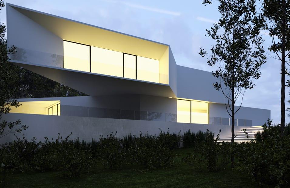 minimalistische Residenz in weiß mit großen terrassen und glasgeländern und glasbandfenstern