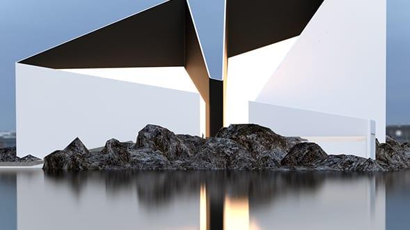 Modernes minimalistisches haus aus zwei dreieck volumen in for Minimalistisches haus