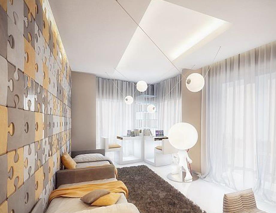 kleine wohnzimmer modern gestalten mit wandfarbe beige und coole wandgestaltung mit puzzle-wandpaneel in gelb und hellbraun